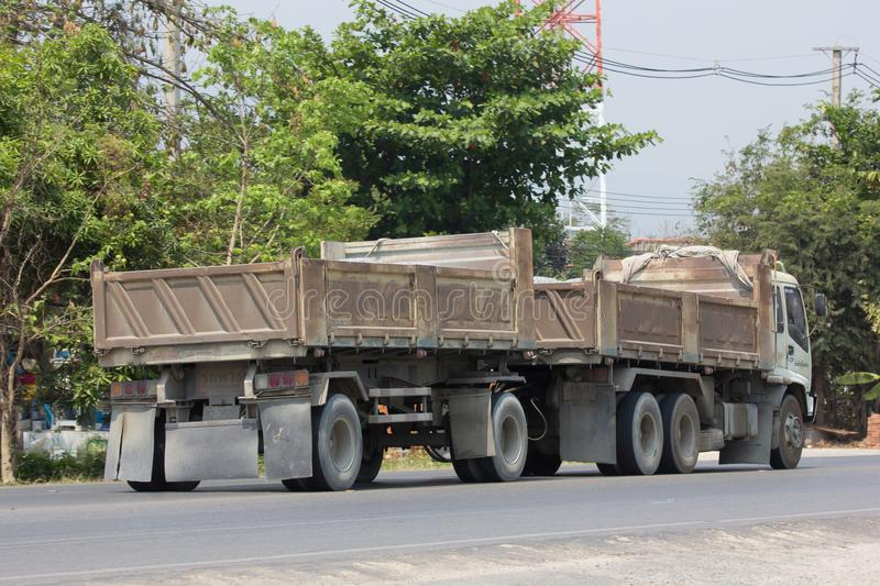 Trailer dump truck of Piboon Concrete. CHIANG MAI, THAILAND - APRIL 5 2018: Trailer dump truck of Piboon Concrete. On road no.1001, 8 km from Chiangmai city royalty free stock photos