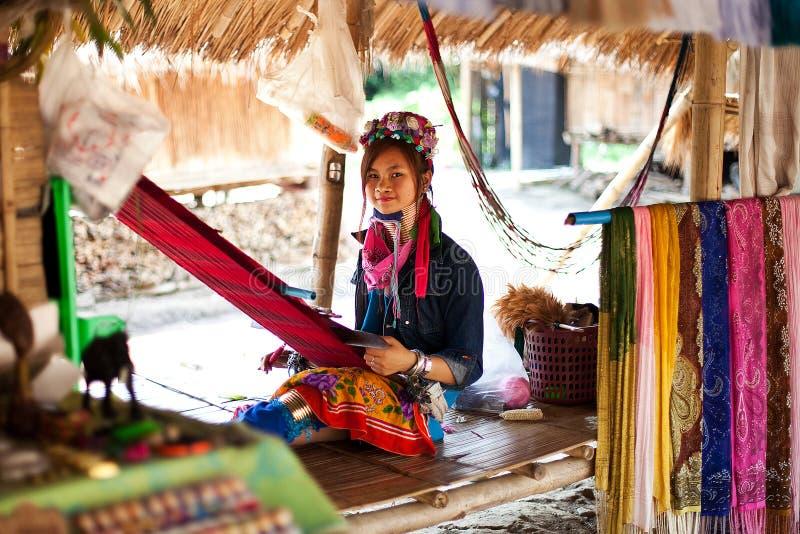 Chiang Mai, Thailand - APRIL 22, 2015: The village of long-necked women. Hilltribe Villages. Karen Long Neck Village stock photo