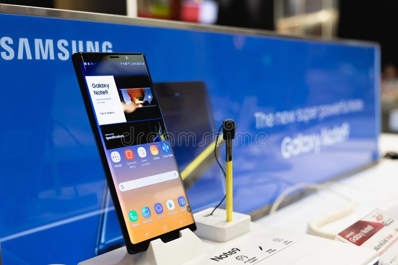 CHIANG MAI, THAILAND - 2018 AUG 10 : Samsung Galaxy Note 9 with stock image