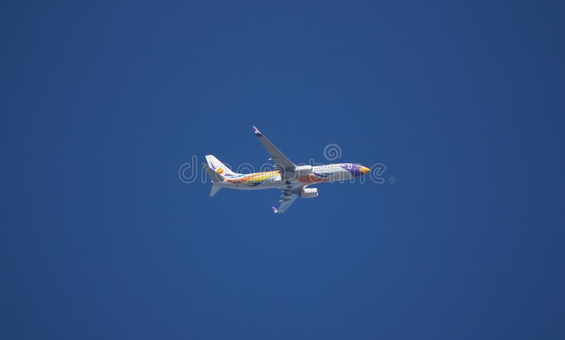 Boeing 737-800 of NokAir Airline. CHIANG MAI, THAILAND -DECEMBER 13 2017: HS-DBY Boeing 737-800 of NokAir . Take off from Chiangmai airport to Bangkok stock photos