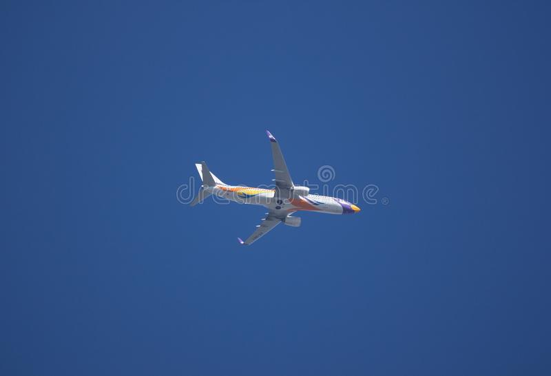 Boeing 737-800 of NokAir Airline. CHIANG MAI, THAILAND -DECEMBER 13 2017: HS-DBY Boeing 737-800 of NokAir . Take off from Chiangmai airport to Bangkok stock image