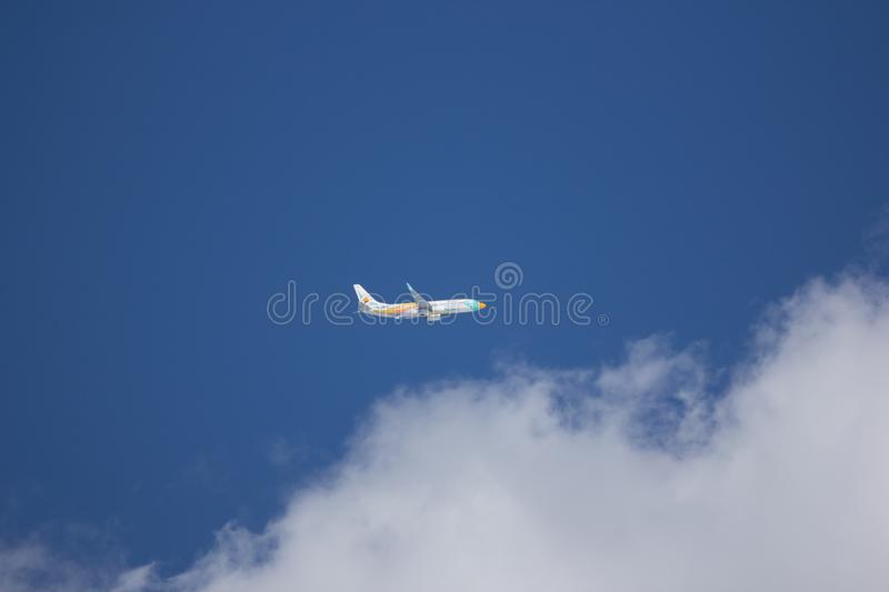 HS-DBZ Boeing 737-800 of NokAir . CHIANG MAI, THAILAND -DECEMBER 3 2017: HS-DBZ Boeing 737-800 of NokAir . Take off from Chiangmai airport to Bangkok stock images