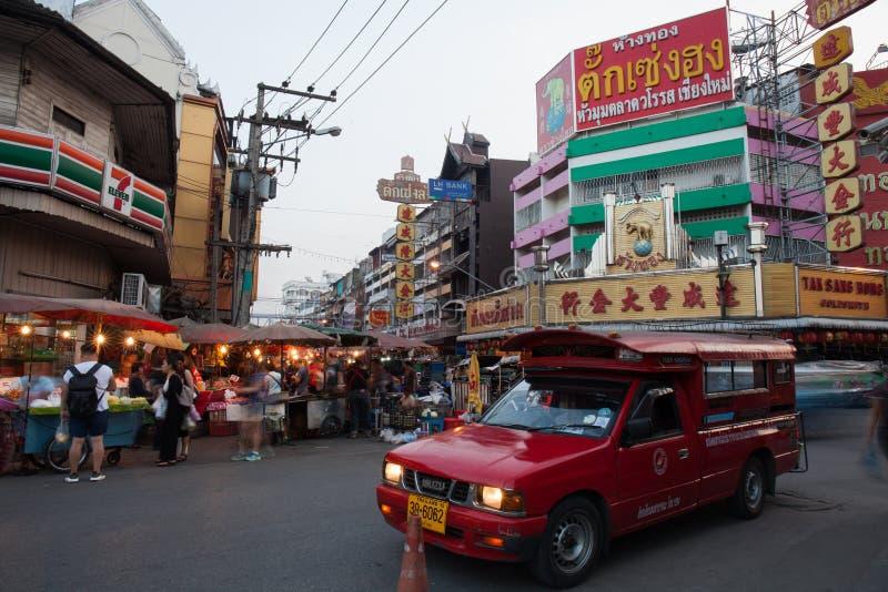 CHIANG MAI THAILAND - 23 FEBRUARI: De bloemmarkt in het lopen royalty-vrije stock foto's