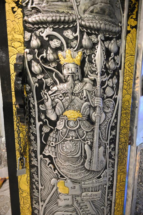 Chiang Mai, Thailand - Jan 14, 2017 : Silver handicraft of protector of god Inside Wat Srisuphan Temple in Chiang Mai. Chiang Mai, Thailand - Jan 14, 2017 stock images