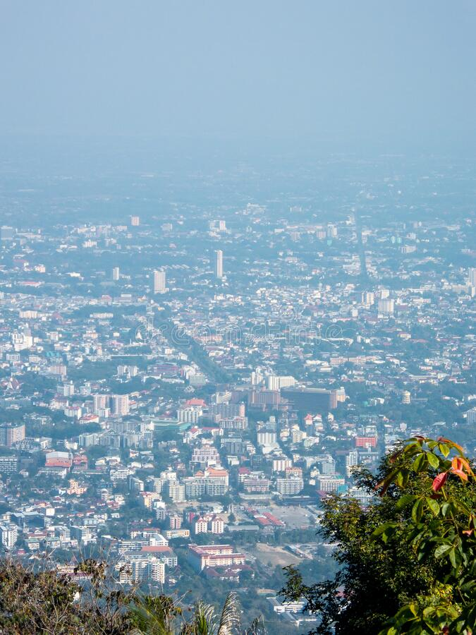 CHIANG MAI THAILAND-12 JANUARY 2020:Chiang Mai City `s landscape In the dusty air in this period there is a poison. Dust, pm 2.5. Is the air pollution problem stock photography