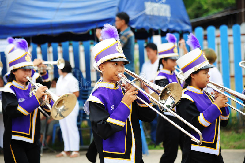 CHIANG MAI, THAILAND - July 03, 2017: Students School Marching Band participating in the Festival for donating money to the temple. For publishing Buddhism royalty free stock photography