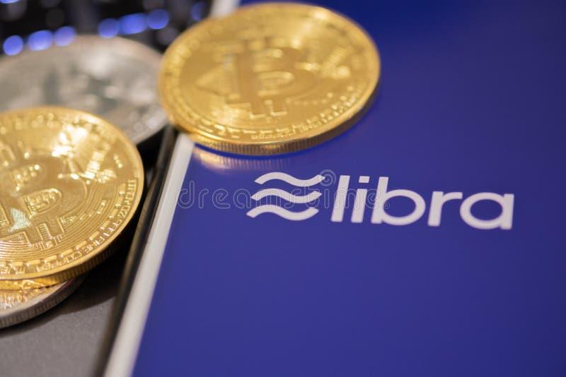 CHIANG MAI,THAILAND - JUNE 19,2019: Libra Facebook cryptocurrency and bitcoin cryptocurrency, Libra coins concept stock images
