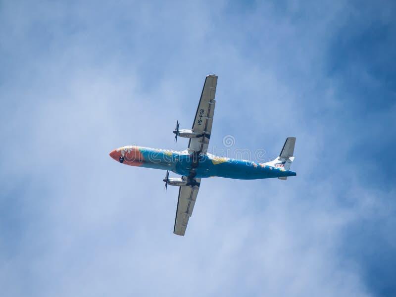 Chiang Mai Thailand - Maj 28: ATR-72 av Bangkok AirwaysThailand arkivbilder