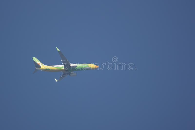 Boeing 737-800 of NokAir Airline. CHIANG MAI, THAILAND - MARCH 4 2018: HS-DBP Boeing 737-800 of NokAir . Take off from Chiangmai airport to Bangkok royalty free stock photography
