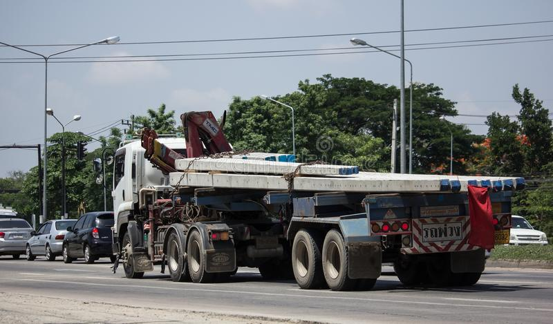 Trailer dump truck of Chiangmai Pk Transport. CHIANG MAI, THAILAND - MAY 21 2018: Trailer dump truck of Chiangmai Pk Transport. On road no.1001, 8 km from royalty free stock photos