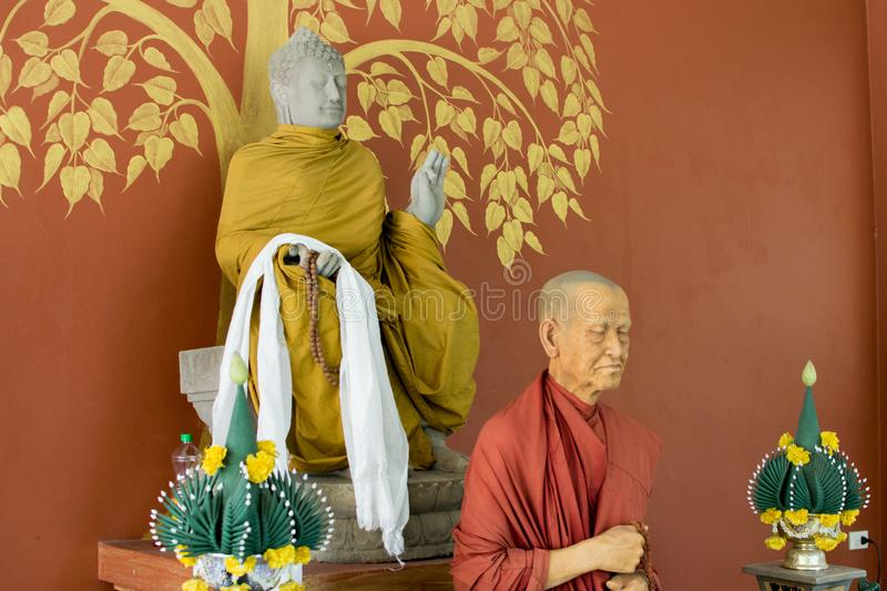 Wax Statue Of Buddhist Monk In The Temple Editorial Image - Image of