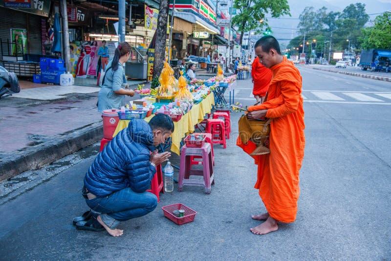 Chiang Mai, Thailand morning alms royalty free stock photos