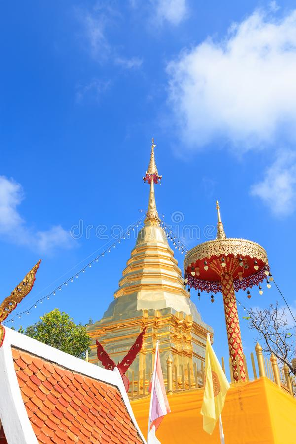 Chiang Mai, Thailand - November 19, 2018: Buddha relic pagoda at Wat Phra That Doi Kham Temple, one of famous monastery in. Province royalty free stock image