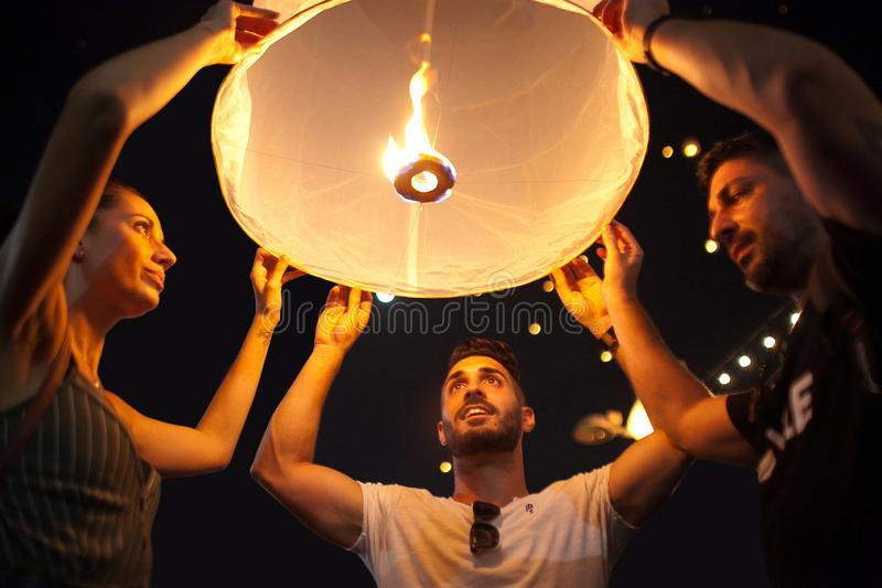 Yee Peng Festival in Chiang Mai, Northern Thailand stock images