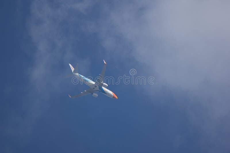 HS-DBW Boeing 737-800 of NokAir . CHIANG MAI, THAILAND -NOVEMBER 19 2017: HS-DBW Boeing 737-800 of NokAir . Take off from Chiangmai airport to Bangkok royalty free stock photos