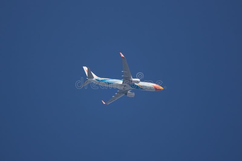 HS-DBW Boeing 737-800 of NokAir . CHIANG MAI, THAILAND -NOVEMBER 19 2017: HS-DBW Boeing 737-800 of NokAir . Take off from Chiangmai airport to Bangkok stock photography