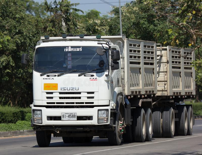 Trailer dump truck of Jaetik Phrae. CHIANG MAI, THAILAND -NOVEMBER 14 2017: Trailer dump truck of Jaetik Phrae. On road no.1001, 8 km from Chiangmai city royalty free stock images