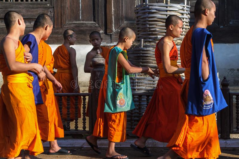 Novice monks at Wat Prasat temple in Chiang Mai, Thailand. stock images