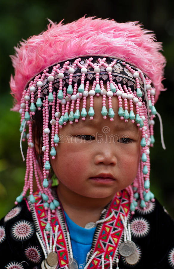 CHIANG MAI, THAILAND - OCTOBER 25 : Portrait of unidentified Akha hill tribe children with traditional royalty free stock image