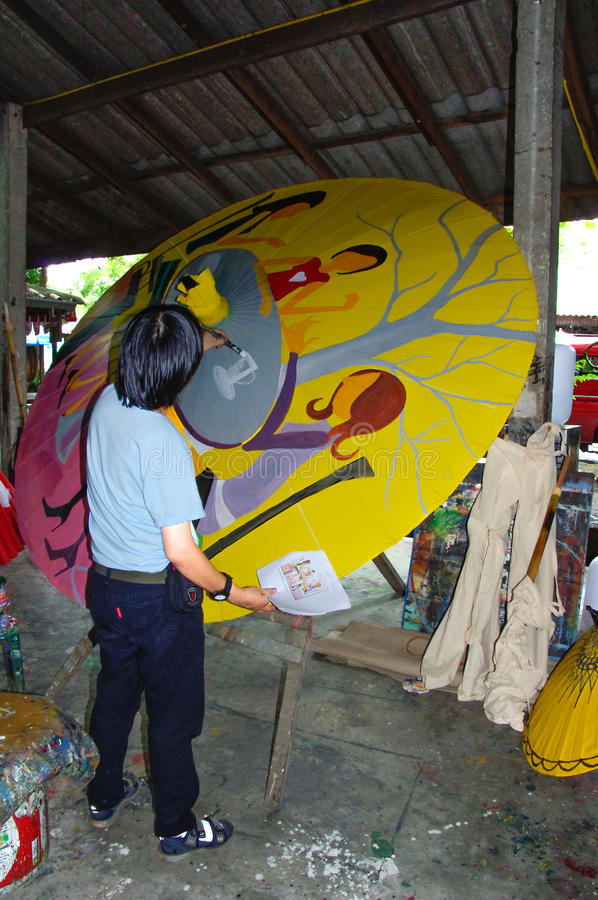 Chiang Mai - Thailand -paper - umbrella- handmade. Chiang Mai Thailand: Paper umbrella handmades by an artisan stock image
