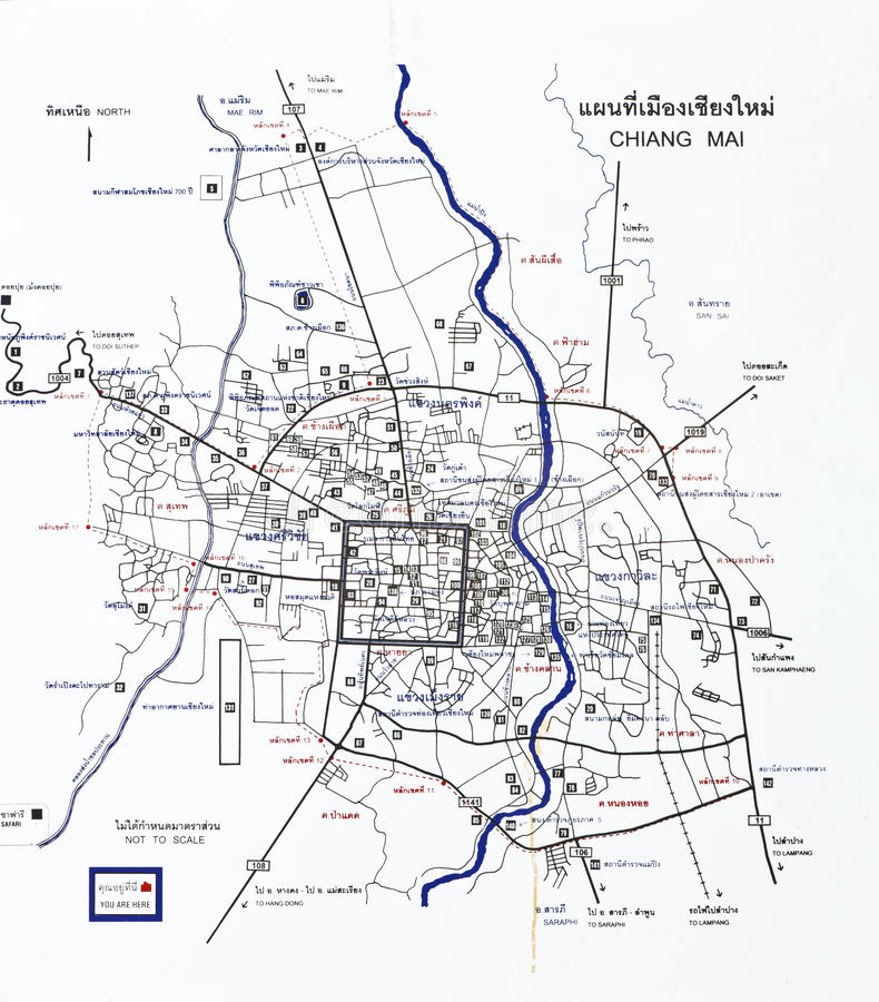 Chiang Mai Tourist Map Royalty Free Stock Images