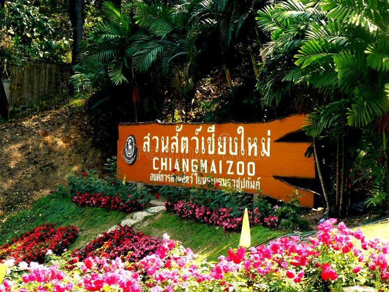 Chiang Mai Zoo Signage delante del parque zoológico stock de ilustración