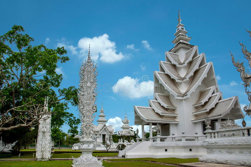 Chiang Rai in northern Thailand Baimiao called: Long Kun Temple, Linh Quang or White Dragon Temple (Wat Rong Khun) stock photography