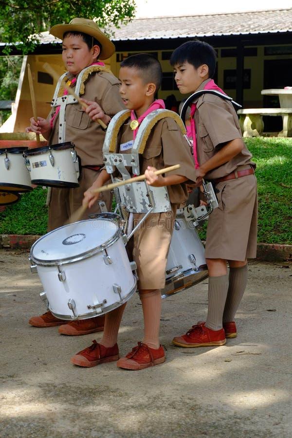Chiang Rai, Tailandia - 31 de julio de 2018: Banda de la práctica, a foto de archivo libre de regalías
