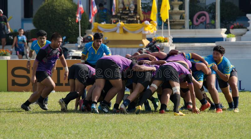 Rugby player making a service at Thailand National Games, 2018 Chiang Rai Games. Chiang Rai, Thailand – November 20, 2018 : Rugby player in action during royalty free stock images