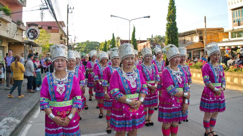 China`s Yunnan people in the parade for promoted 46th Thailand National Games. Chiang Rai, Thailand – October 28, 2018 : Traditional Parade for promoted stock images