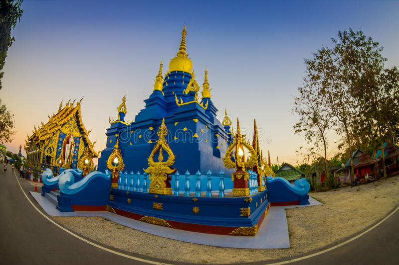 CHIANG RAI, THAILAND - FEBRUARY 01, 2018: Beautiful blue pagoda at Wat Rong Suea Ten blue Temple, is locate at Chiang. Rai province, northern part of Thailand stock images