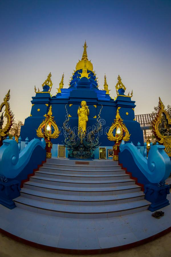 CHIANG RAI, THAILAND - FEBRUARY 01, 2018: Beautiful blue pagoda at Wat Rong Suea Ten blue Temple, is locate at Chiang. Rai province, northern part of Thailand stock photos