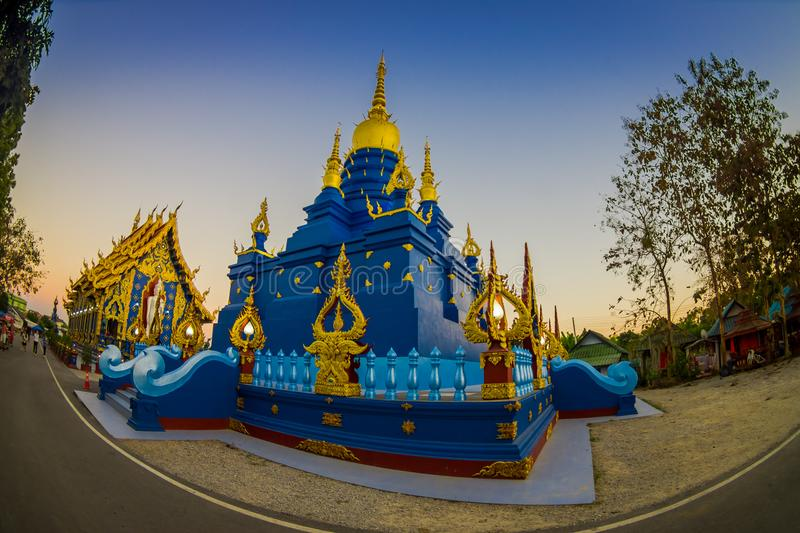 CHIANG RAI, THAILAND - FEBRUARY 01, 2018: Beautiful blue pagoda at Wat Rong Suea Ten blue Temple, is locate at Chiang. Rai province, northern part of Thailand stock photography