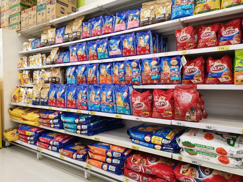 CHIANG RAI, THAILAND - FEBRUARY 12 : dog food sold in supermarket on February 12, 2019 in Chiang rai, Thailand. Perspective view royalty free stock photo
