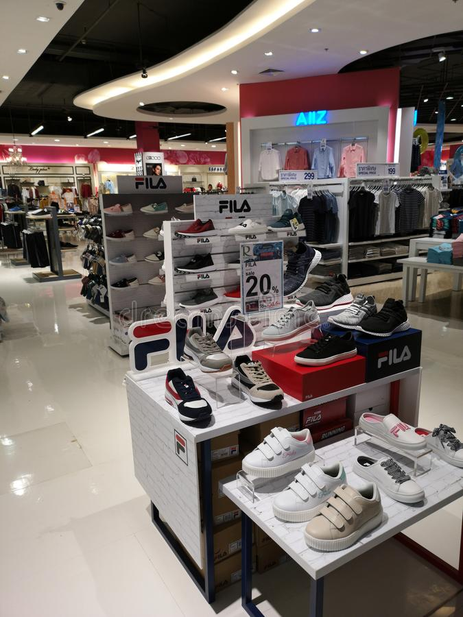 CHIANG RAI, THAILAND - MARCH 7, 2019 : Fila shoes on display sold in department store on March 7, 2019 in Chiang rai, Thailand stock image