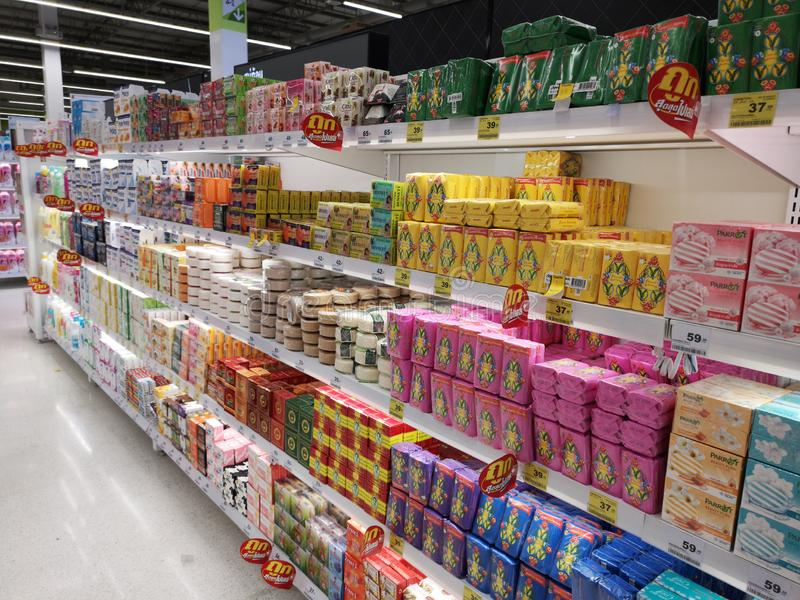 CHIANG RAI, THAILAND - MARCH 7, 2019 : various brands of soaps on shelf for sale in supermarket on March 7, 2019 in Chiang rai, royalty free stock image