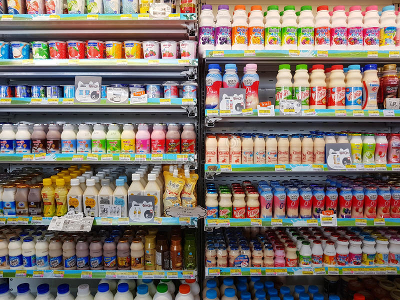 CHIANG RAI, THAILAND - NOVEMBER 25: divers merk van gepasteuriseerd stock afbeelding