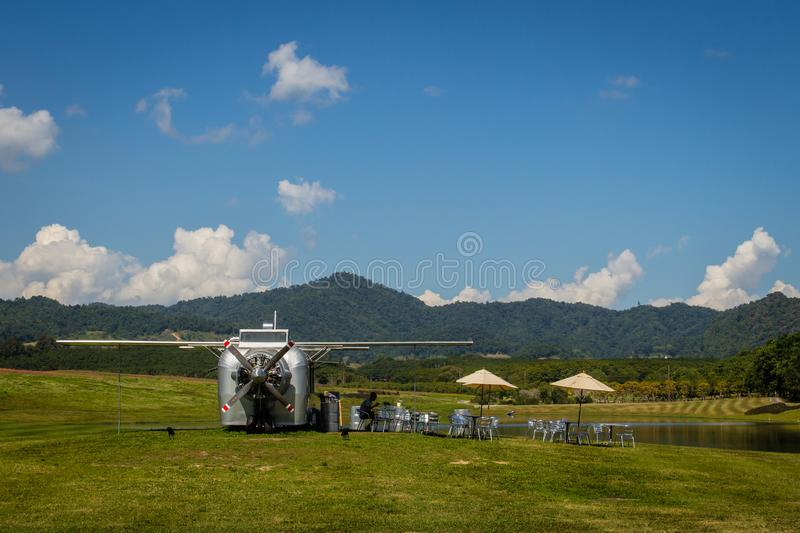 Sustainable tourism project in the park at Singha Park or Boon Rawd Farm, one of the largest tea producers in Chiang Rai, Thailand stock images