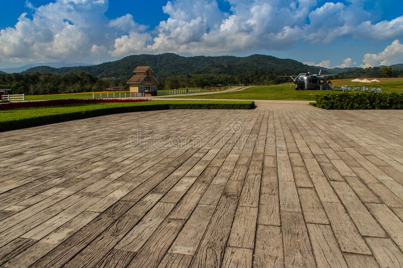 Sustainable tourism project in the park at Singha Park or Boon Rawd Farm, one of the largest tea producers in Chiang Rai, Thailand stock photo