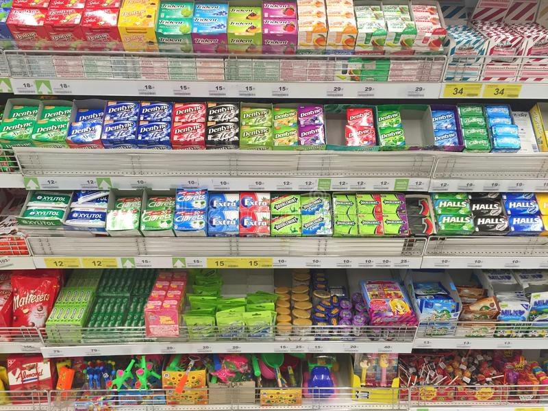 CHIANG RAI, THAILAND - OCTOBER 28 : various brand chewing gum i. N packaging in supermarket stand or shelf in Big C Supercenter on October 28, 2016 in Chiang rai royalty free stock photography