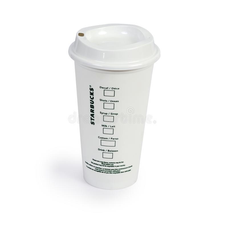 CHIANG RAI,THAILAND - SEPTEMBER 24 , 2019 :Starbucks Hot Tall Coffee Take Away Cup on white. Background royalty free stock photos