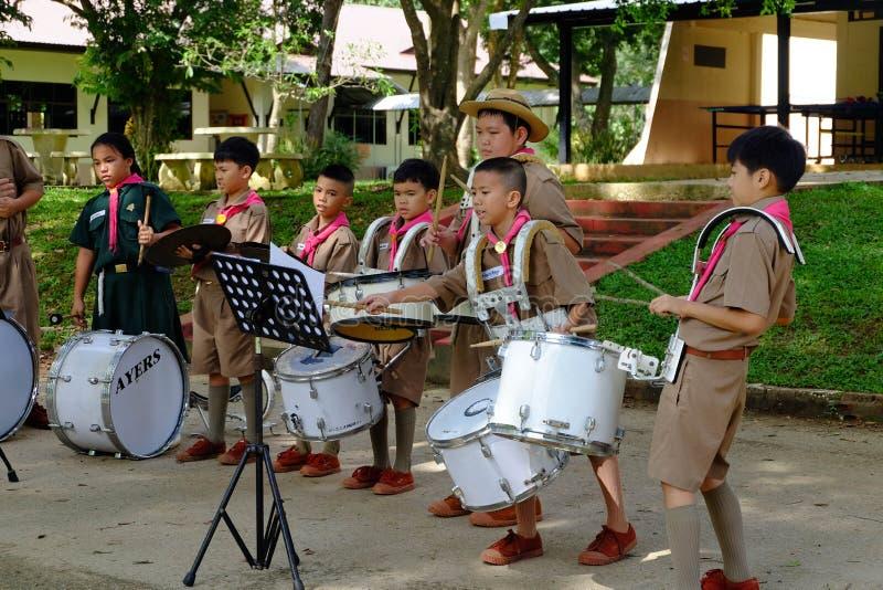 Chiang raja Tajlandia, Lipiec, - 31, 2018: Praktyki orkiestra marsszowa, a obraz royalty free