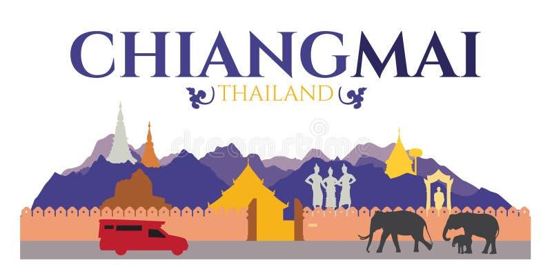 Chiangmai市泰国-吸引力和traval地点例如土井素贴, Tha Phae门和寺庙和大象 库存例证