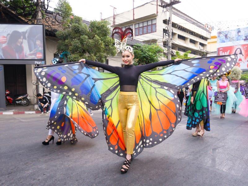 CHIANGMAI,泰国- 2月3 :一套美丽的蝴蝶服装的女孩在年鉴42th清迈花节日, o的游行 图库摄影