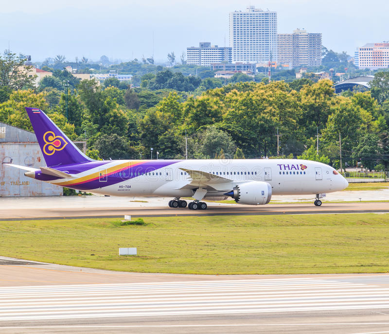 CHIANGMAI, ТАИЛАНД - 26-ое июля 2014: Аэробус A300-600R HS-TAN Thai Airways стоковое изображение rf