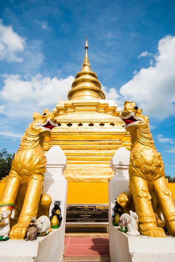Chiangmai dorato Tailandia dello srijomthong del prathat del wat della pagoda fotografia stock libera da diritti