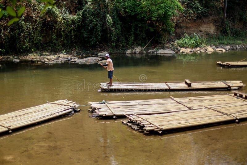 Chiangmai, Tailandia - 31 de marzo de 2016: Bambú que transporta en balsa en selva al norte del AMI de Chaing foto de archivo libre de regalías