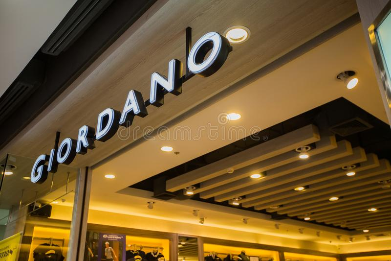 Chiangmai, Thaïlande - 16 juin 2017 : Signe de boutique de Giordano, ce Br image libre de droits