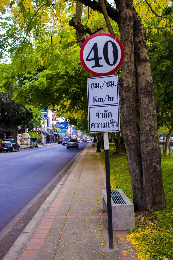 CHIANGMAI,THAILAND-APRIL 30,2019 : Traffic sign in The old city of chiangmai royalty free stock images