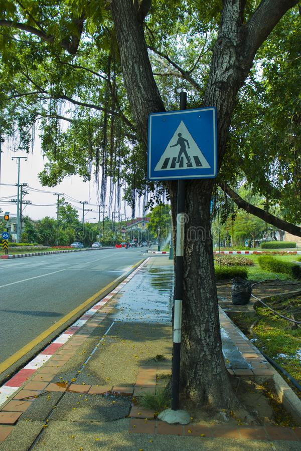 CHIANGMAI,THAILAND-APRIL 30,2019 : Traffic sign in The old city of chiangmai stock photography